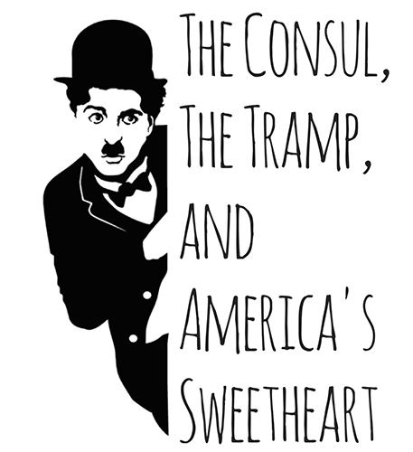 Poster in black and white with Chaplin in character