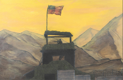 painting of a soldier on lookout