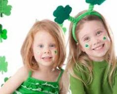 Children wearing green and shamrocks