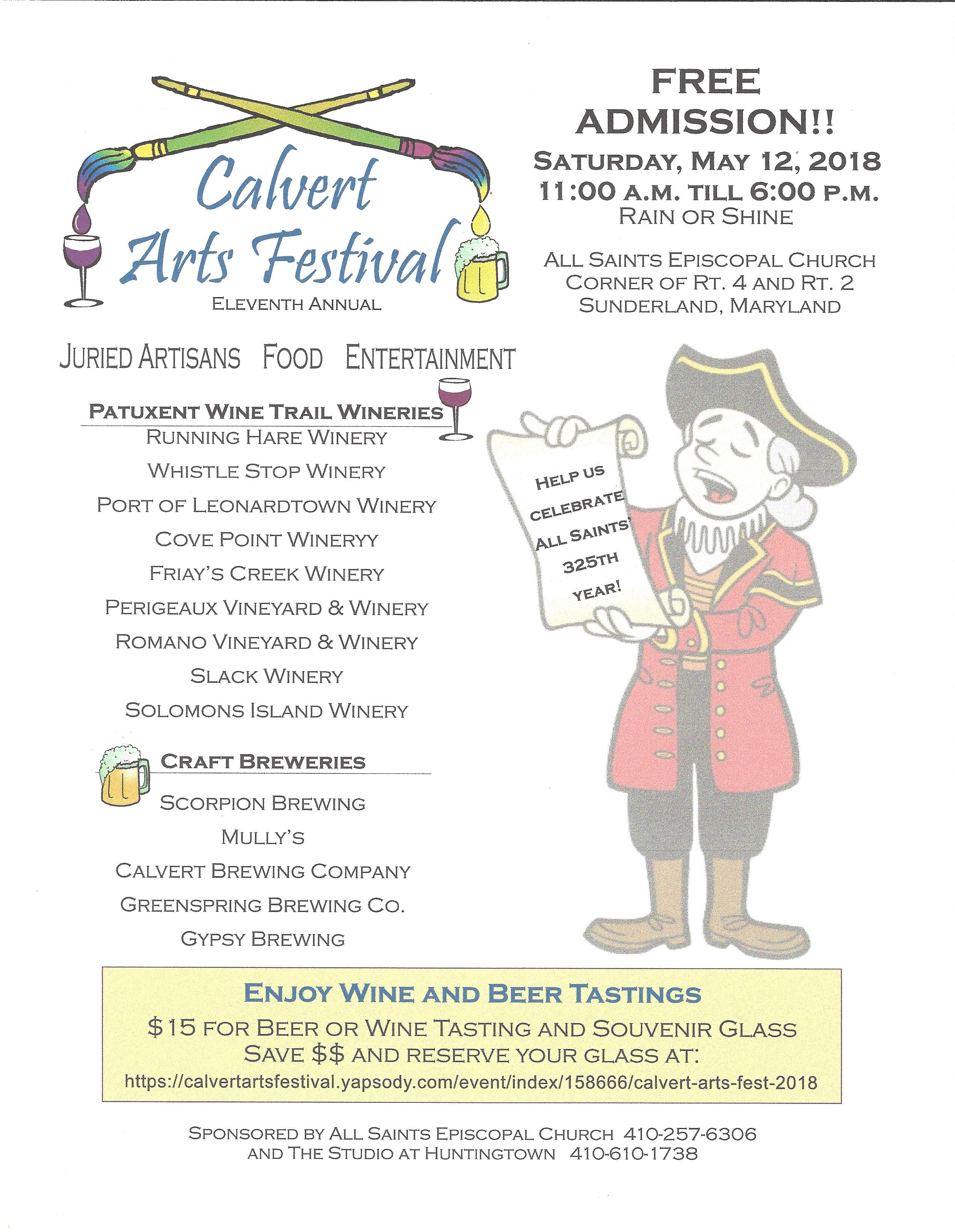 Calvert Arts Festival 2018 flyer