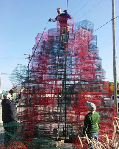 Christmas tree made of crab pots