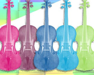 five colorful guitars