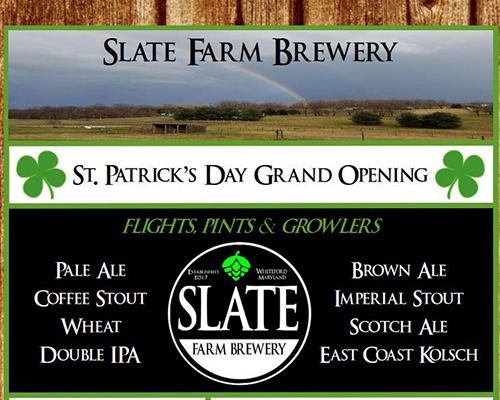 Slate Farm Brewery St. Patrick's Day flyer