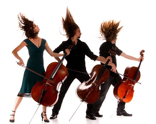 Cellists playing with vigor