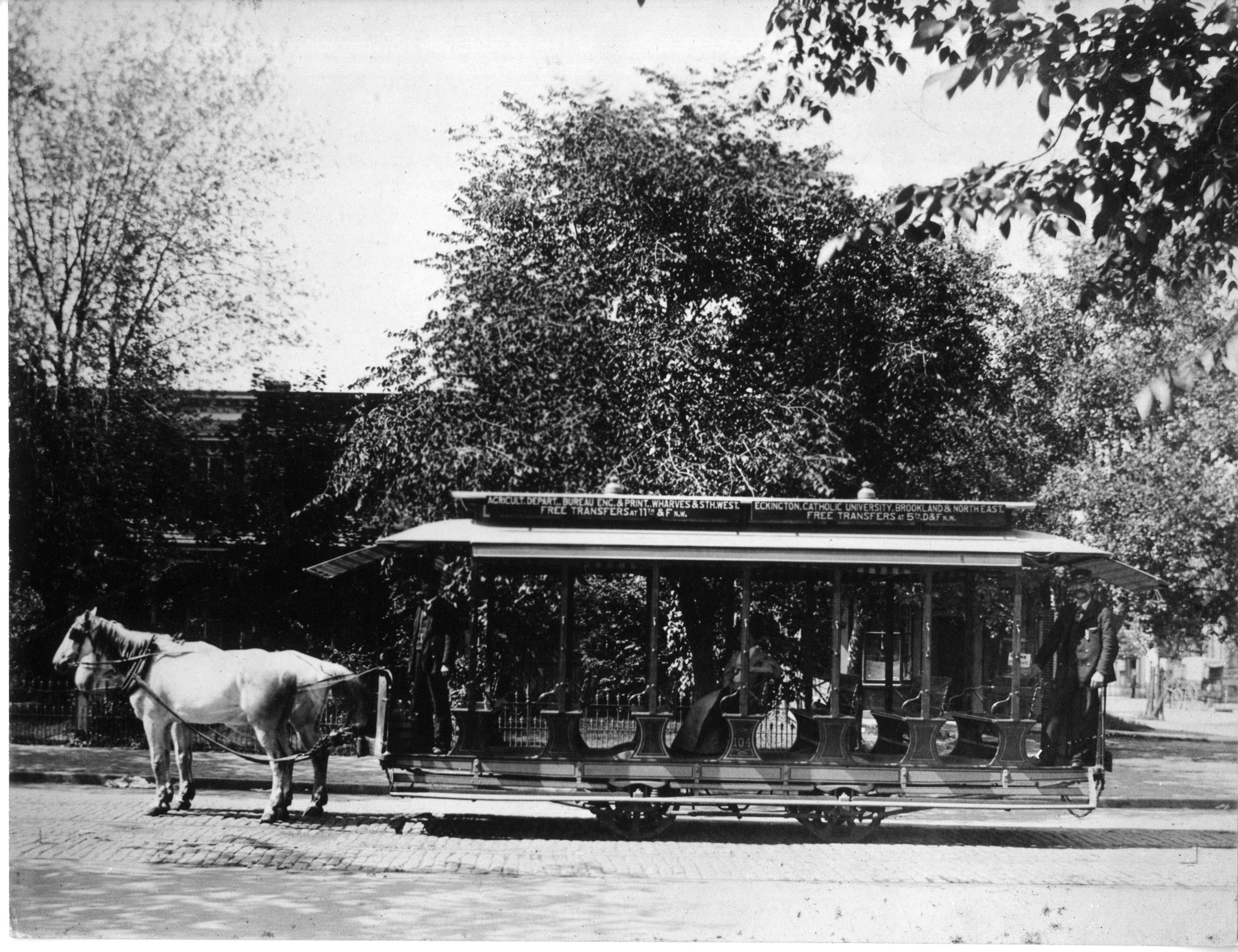 Horse car on East Capitol St. Washington DC, 1890.