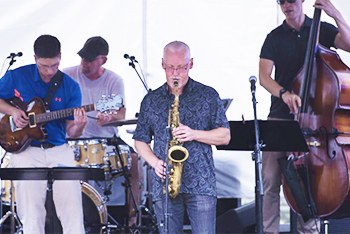 Musicians playing at Frederick Jazz Festival