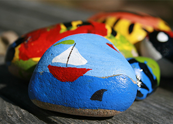 Stones that have been painted