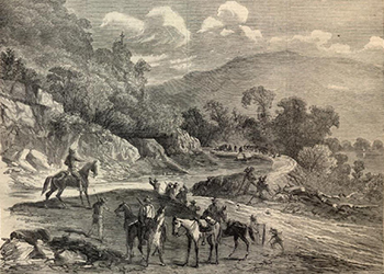 Black and White Drawing of Canal Trail During Civil War Period
