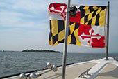 Boat Flying the Maryland Flag