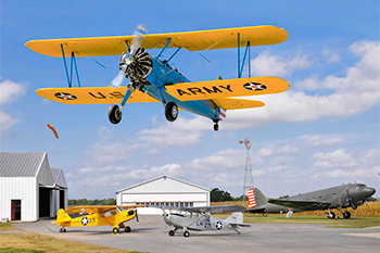 Stearman Biplane flies over Massey Aerodrome