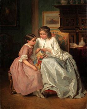 Painting of Mother & Child Sewing
