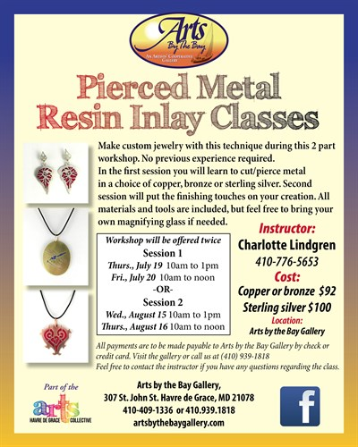 Pierced Metal Resin Inlay Jewelry Classes