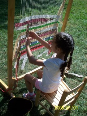 Weaving on a large loom