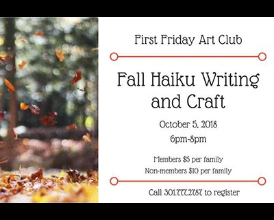 First Friday Art Club Fall Haiku Writing Flyer