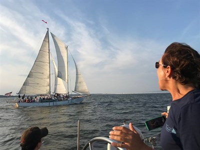 Captain Jen aboard the Woodwind on the Sunset Sail.