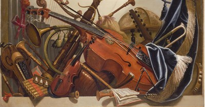 Baroque painting of classical instruments