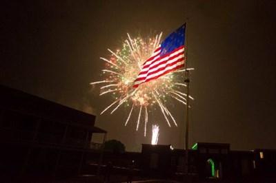 fireworks over Fort McHenry