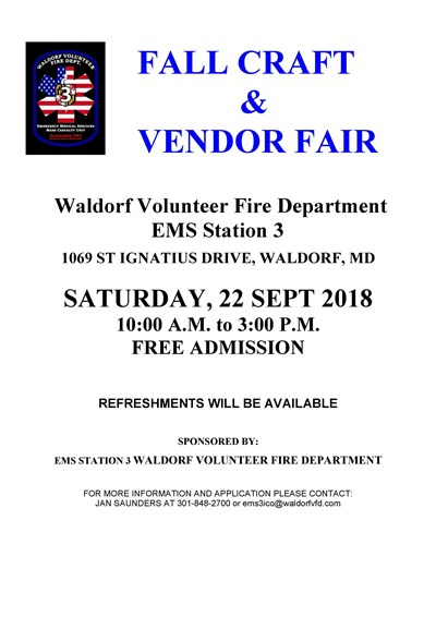 Waldorf VFD EMS Station 3 Fall Craft Fair Poster