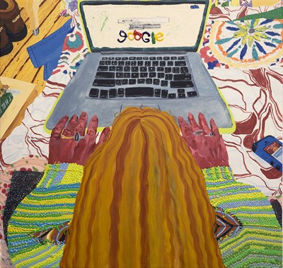 A painting of a person using Google on a laptop.