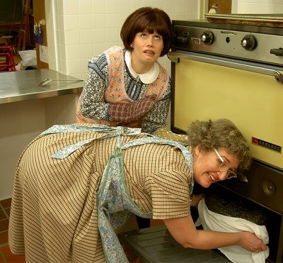 image of two church ladies in a kitchen