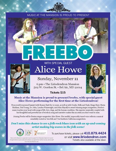 Music at the Mansion with Freebo and Alice Howe Poster