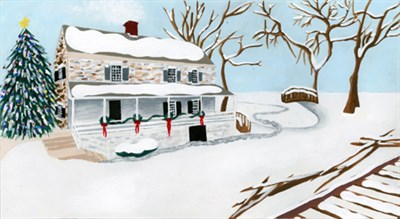 Watercolor of a stone cottage covered in snow