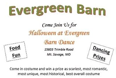 Evergreen Barn Halloween Dance Poster