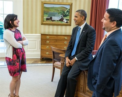 President Obama with Stephanie Valencia, Office of Public Engagement