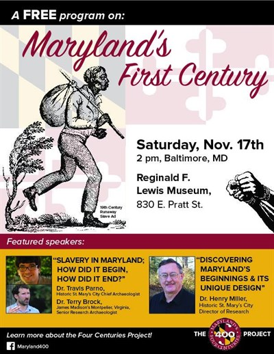Maryland's First Century:  Slavery poster