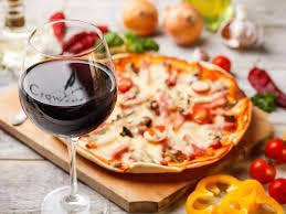 Pizza and a glass of wine