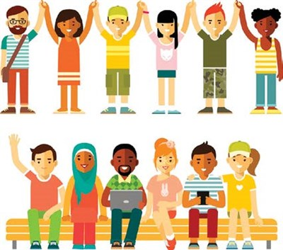Cartoon showing children of various cultures