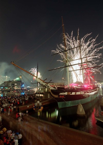 Fireworks and USS Constellation
