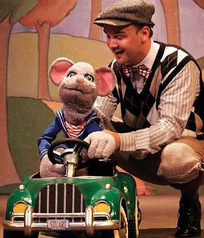 Actor with large Stuart Little Puppet