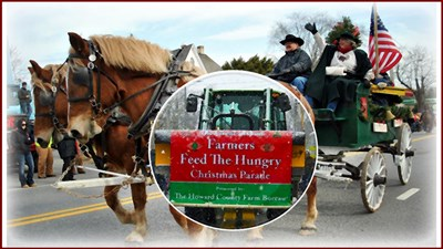 The Great Lisbon FARMERS FEED THE HUNGRY Christmas Parade banner