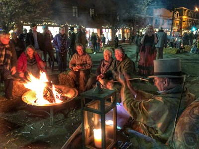 Stories and S'mores by the fire pits at Chestertown's Dickens Weekend.