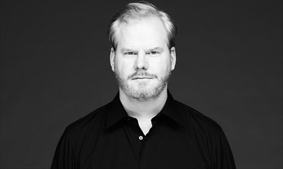 Jim Gaffigan in black and white
