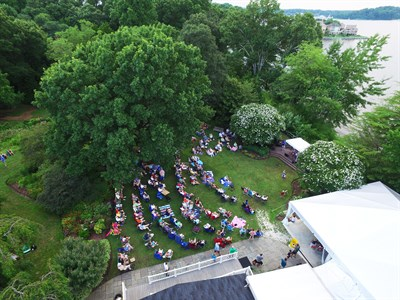 Drone shot of summer concert