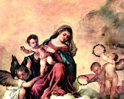 Mural of the Virgin Mary and Son in Heaven