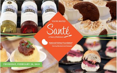 Food and drinks displayed, with the Santé banner displayed in the middle.