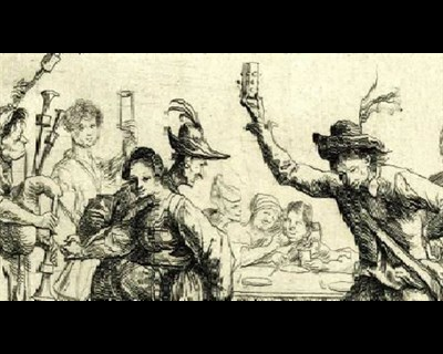 Drawing of people drinking spirits