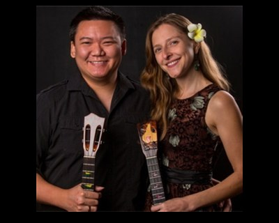 Chee and Maisel with their ukuleles