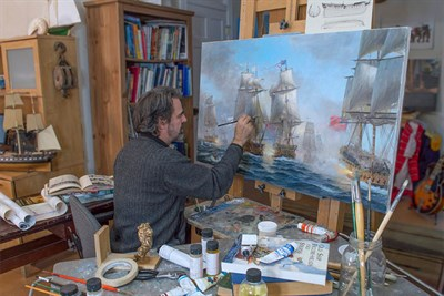 Artist Patrick O'Brien Painting in a Studio