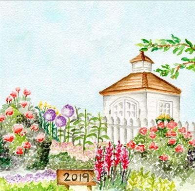 watercolor of garden