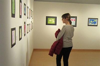 A visitor enjoys an Arts Council exhibit