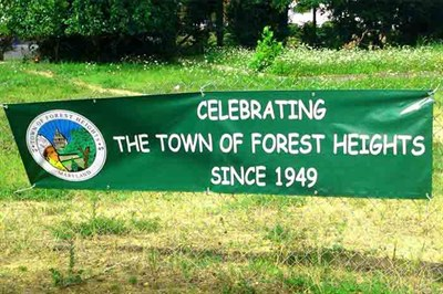Banner celebrating Forest Heights since 1949