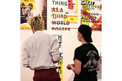 Visitors look at the Graphics on exhibit