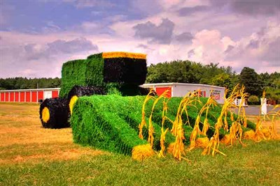 Combine made out of hay