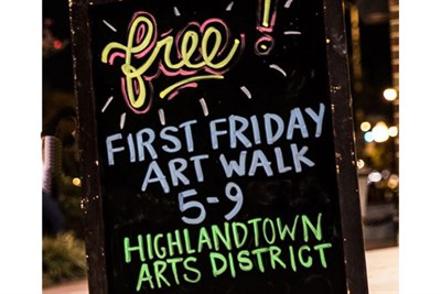 Chalk Board Promoting First Friday Art Walk