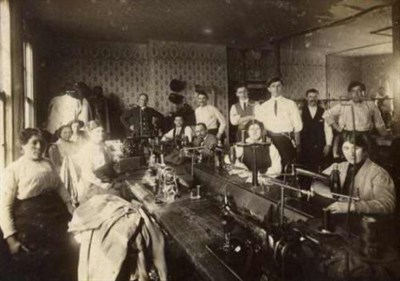 Image: Sewing room in the Jacob Goldberg Factory on Gayette Street in East Baltimore, c. 1910. JMM 1