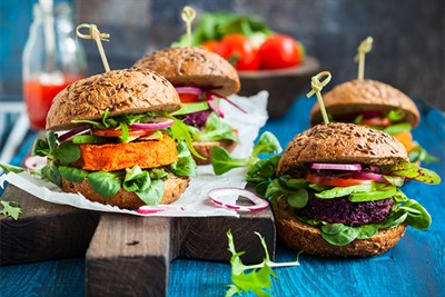 An assortment of vegan burgers